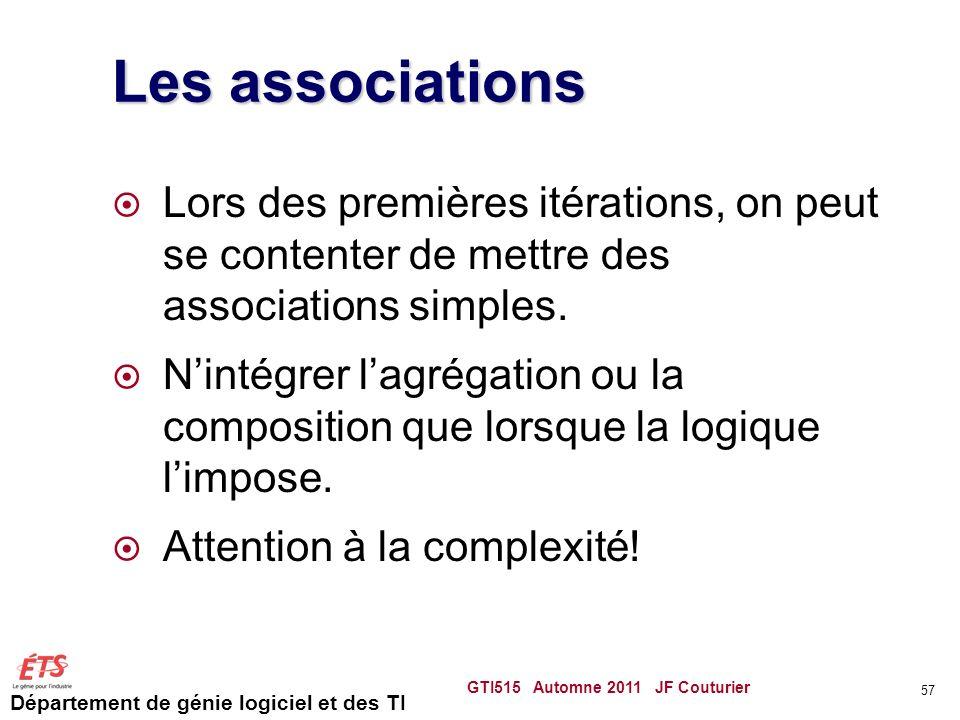 Les associations Lors des premières itérations, on peut se contenter de mettre des associations simples.