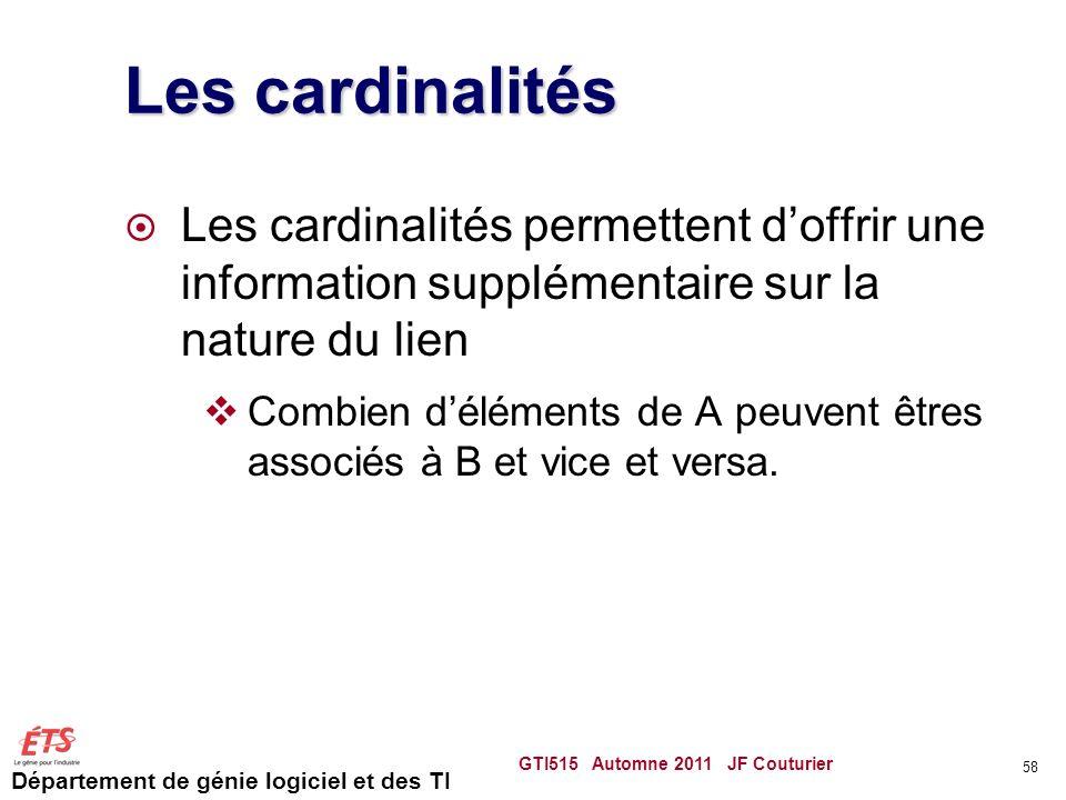 Les cardinalités Les cardinalités permettent d'offrir une information supplémentaire sur la nature du lien.