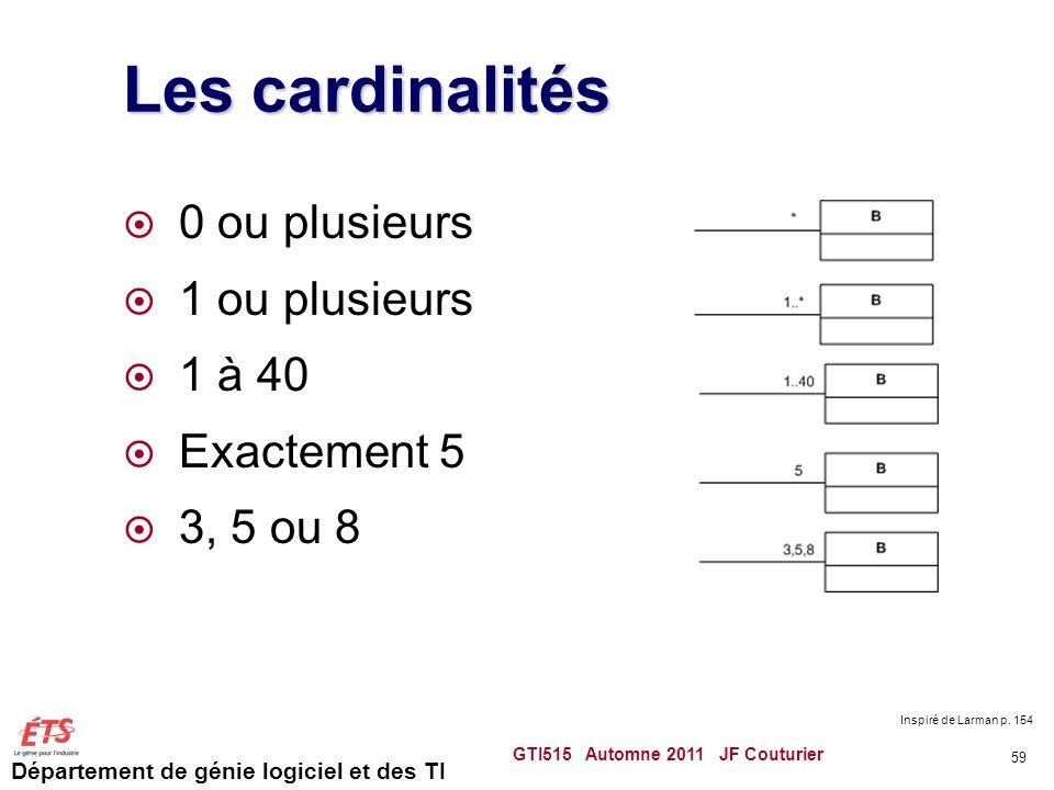 Les cardinalités 0 ou plusieurs 1 ou plusieurs 1 à 40 Exactement 5