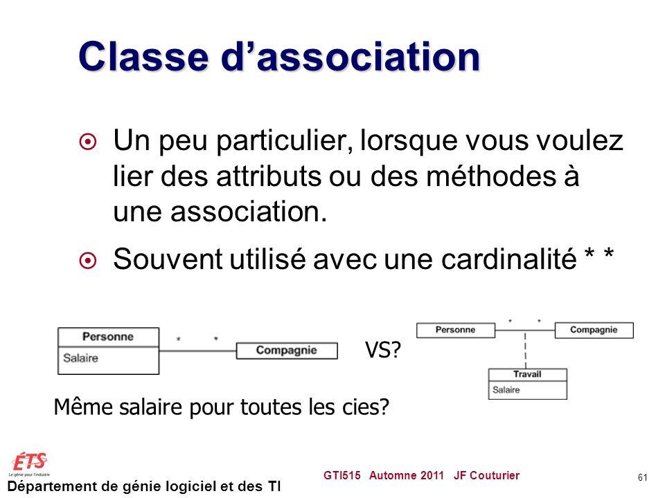 Classe d'association Un peu particulier, lorsque vous voulez lier des attributs ou des méthodes à une association.