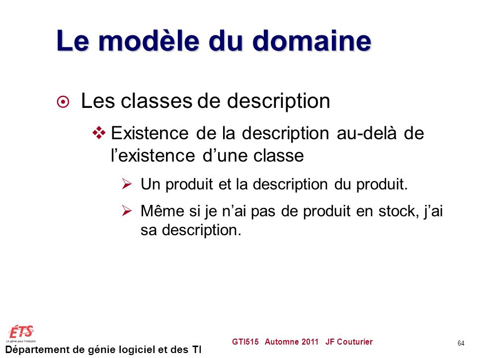 Le modèle du domaine Les classes de description