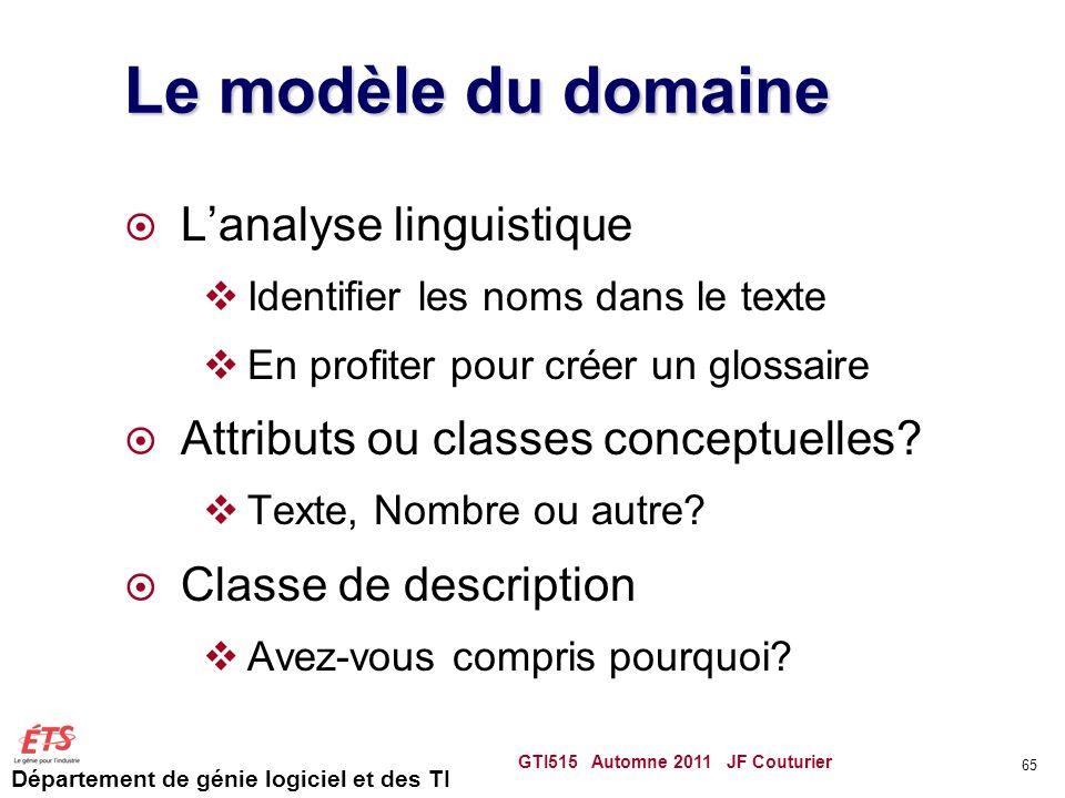 Le modèle du domaine L'analyse linguistique