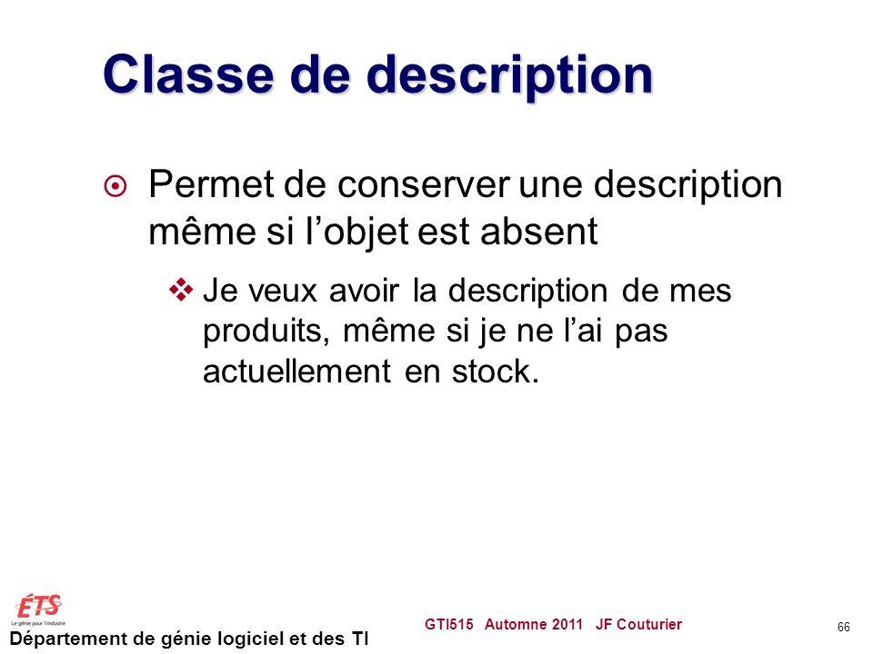 Classe de description Permet de conserver une description même si l'objet est absent.