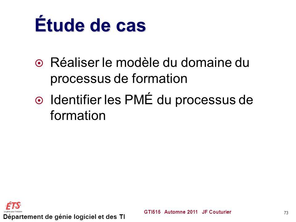 Étude de cas Réaliser le modèle du domaine du processus de formation