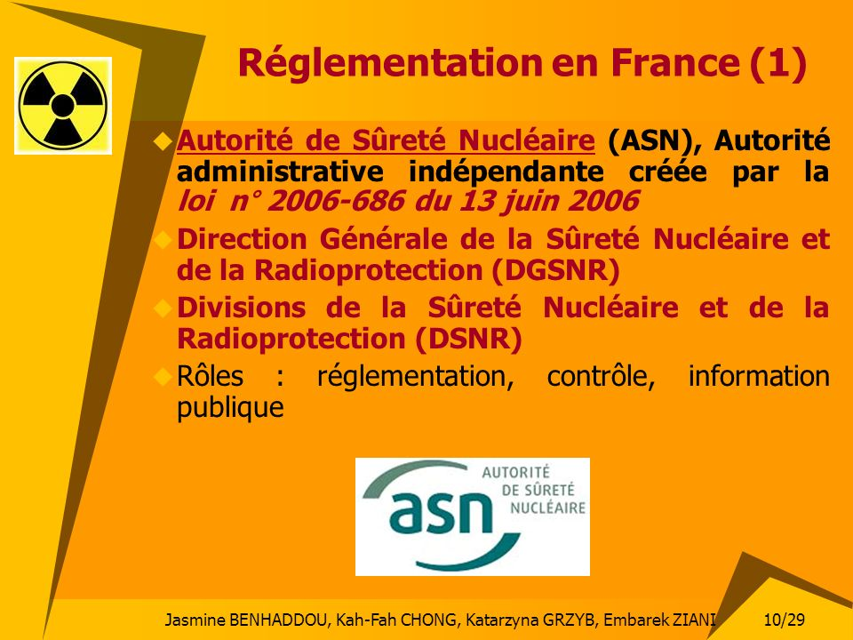 Réglementation en France (1)