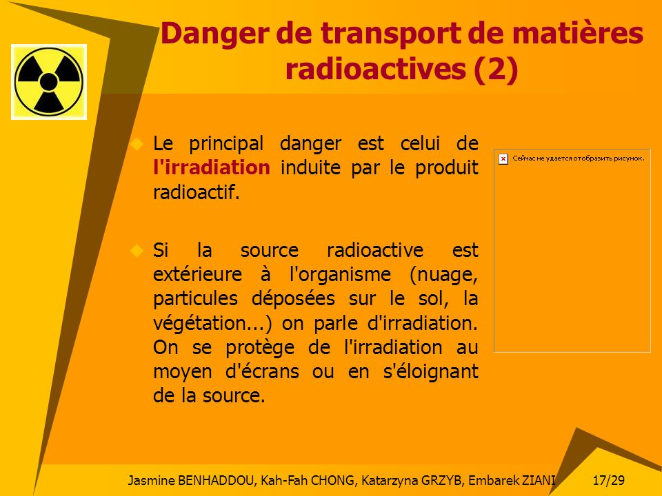Danger de transport de matières radioactives (2)