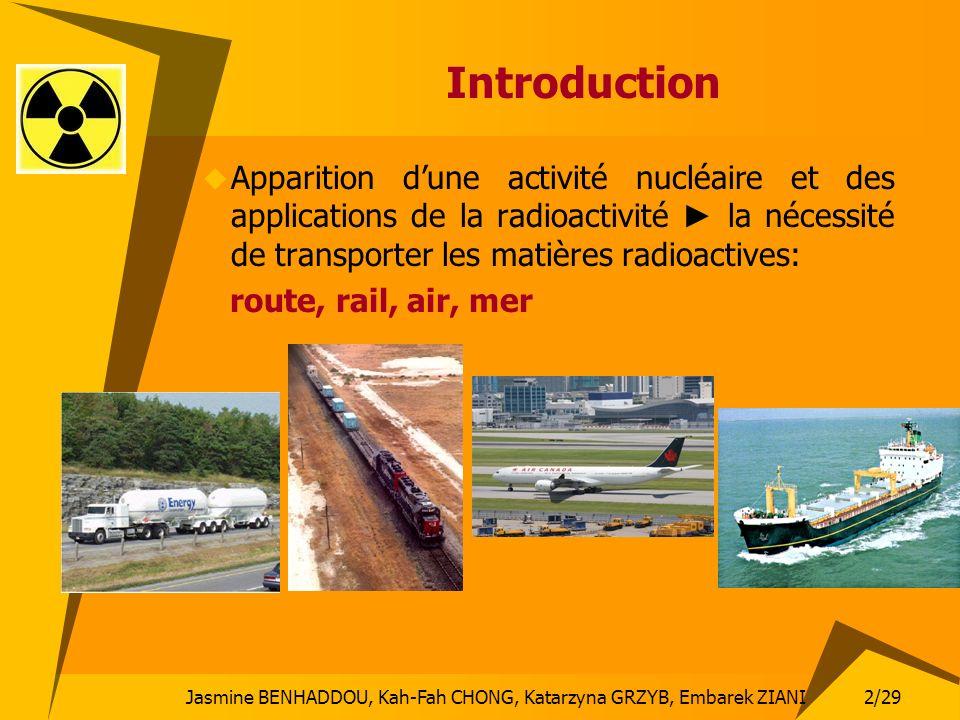 Introduction Apparition d'une activité nucléaire et des applications de la radioactivité ► la nécessité de transporter les matières radioactives: