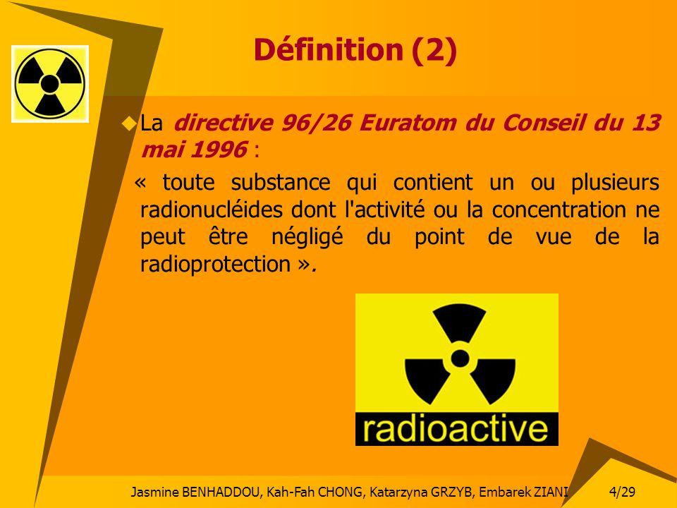Définition (2) La directive 96/26 Euratom du Conseil du 13 mai 1996 :