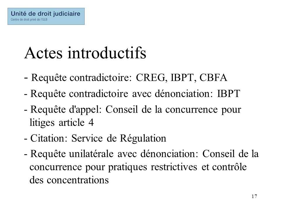 Actes introductifs Requête contradictoire: CREG, IBPT, CBFA