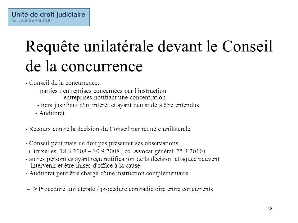 Requête unilatérale devant le Conseil de la concurrence