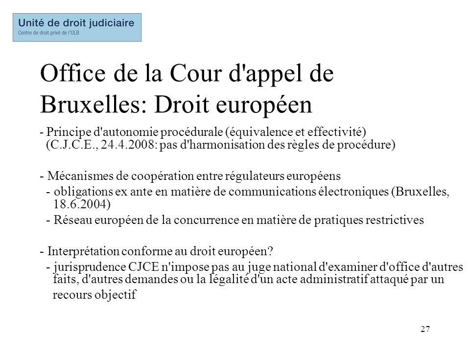 Office de la Cour d appel de Bruxelles: Droit européen