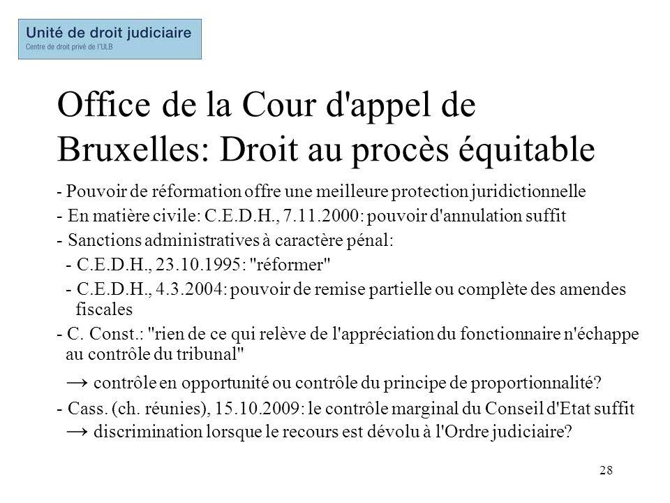 Office de la Cour d appel de Bruxelles: Droit au procès équitable