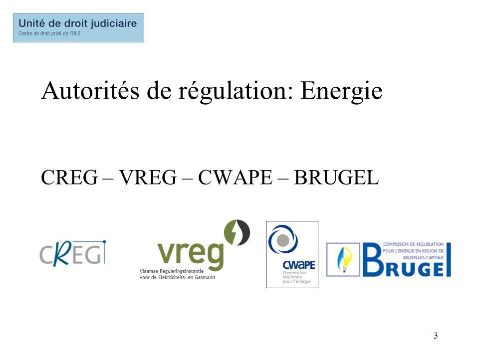 Autorités de régulation: Energie