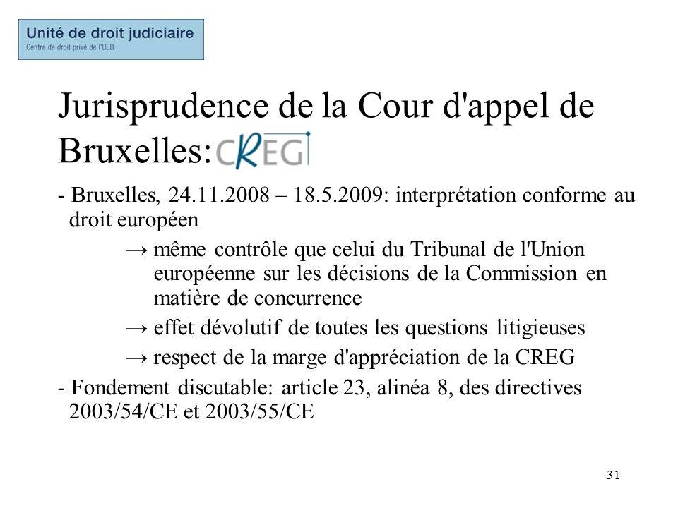 Jurisprudence de la Cour d appel de Bruxelles: