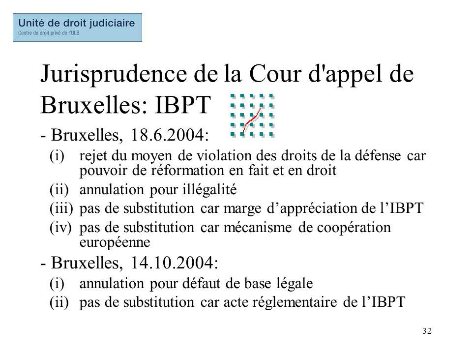 Jurisprudence de la Cour d appel de Bruxelles: IBPT