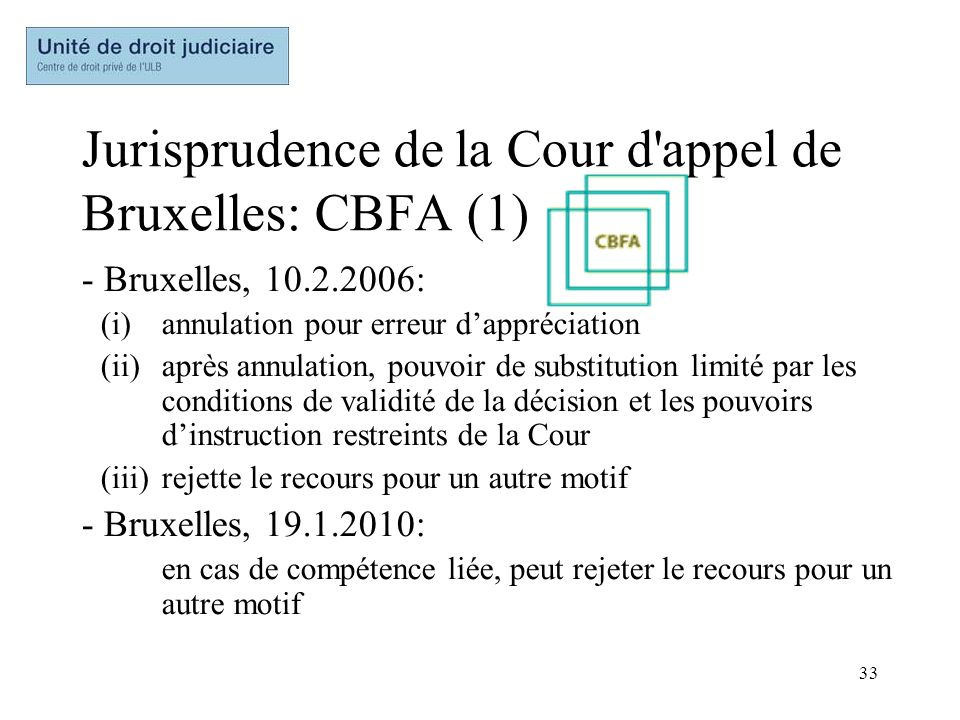 Jurisprudence de la Cour d appel de Bruxelles: CBFA (1)