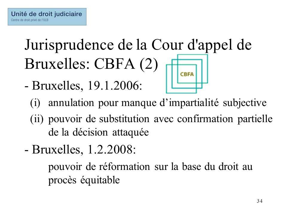 Jurisprudence de la Cour d appel de Bruxelles: CBFA (2)