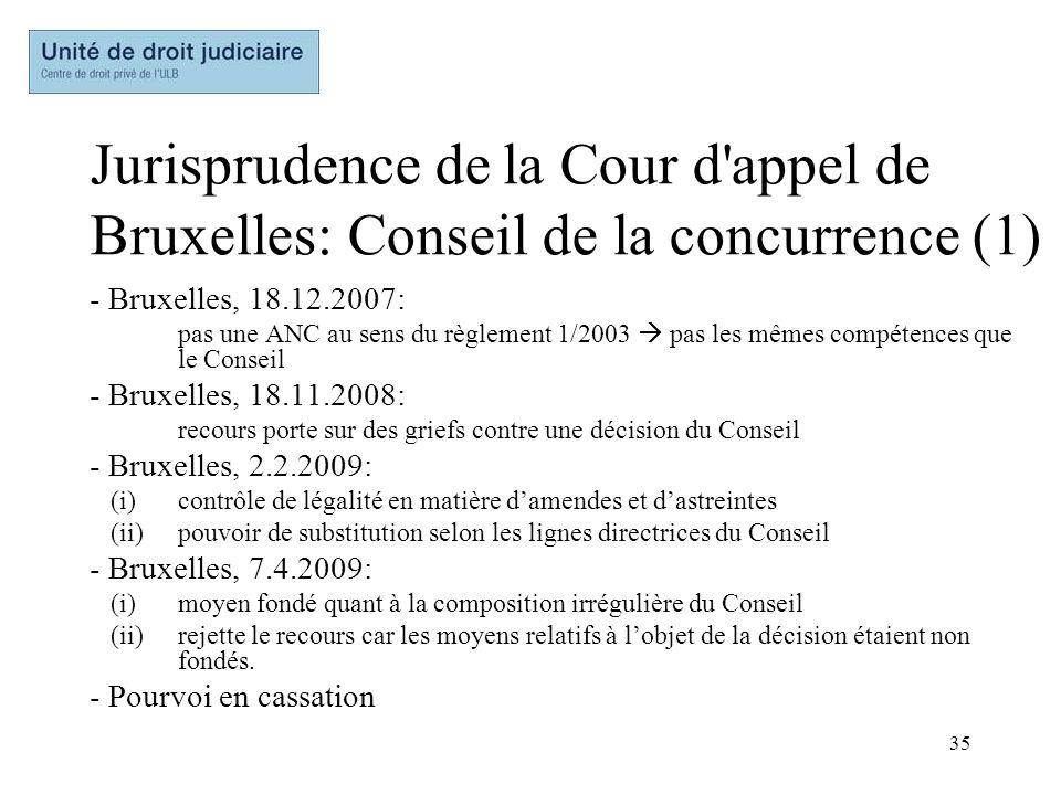 Jurisprudence de la Cour d appel de Bruxelles: Conseil de la concurrence (1)