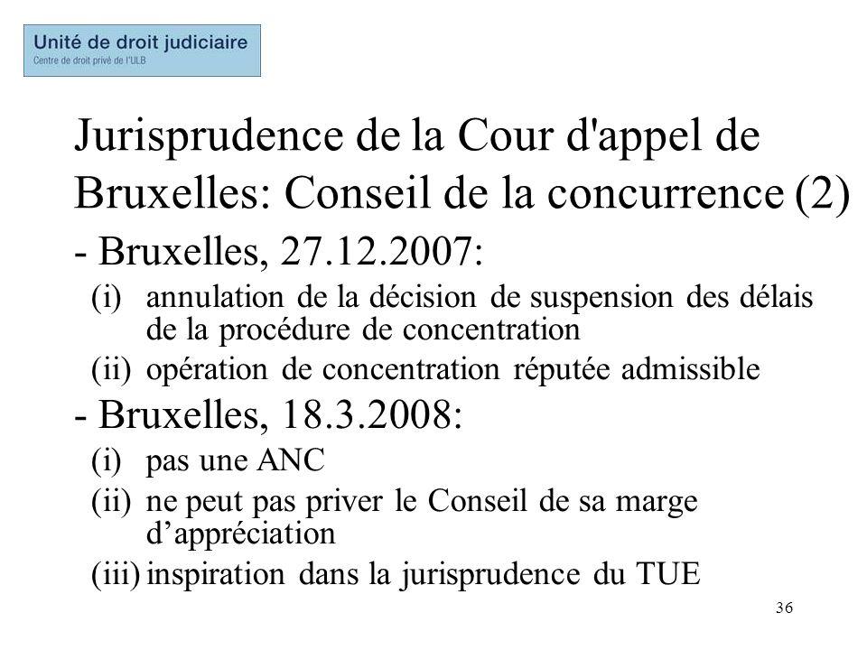 Jurisprudence de la Cour d appel de Bruxelles: Conseil de la concurrence (2)