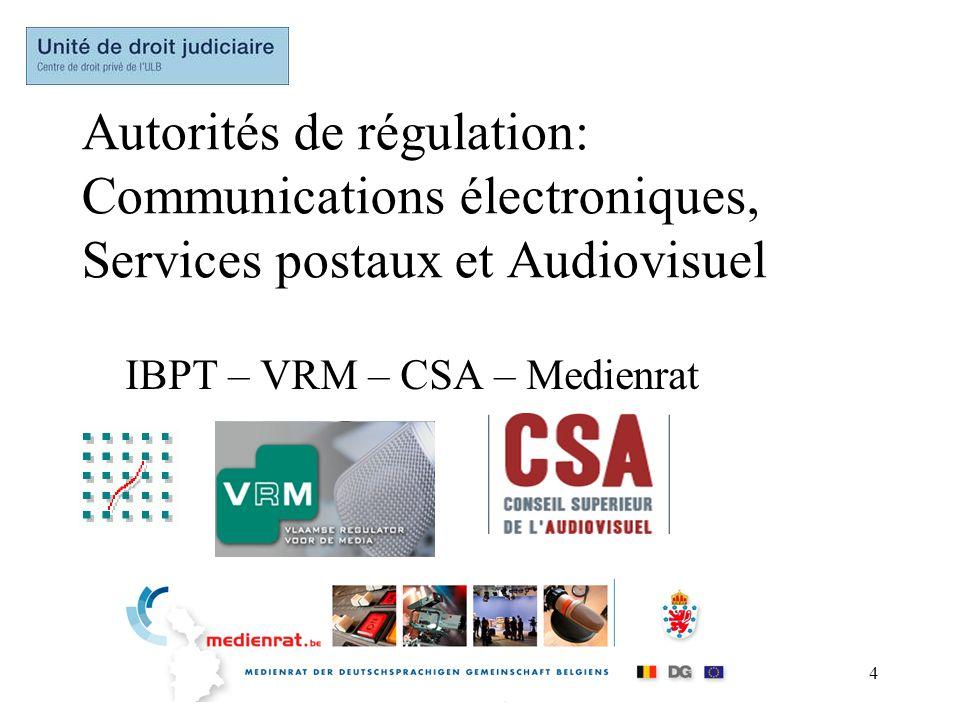 Autorités de régulation: Communications électroniques, Services postaux et Audiovisuel