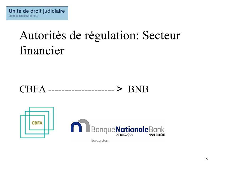 Autorités de régulation: Secteur financier