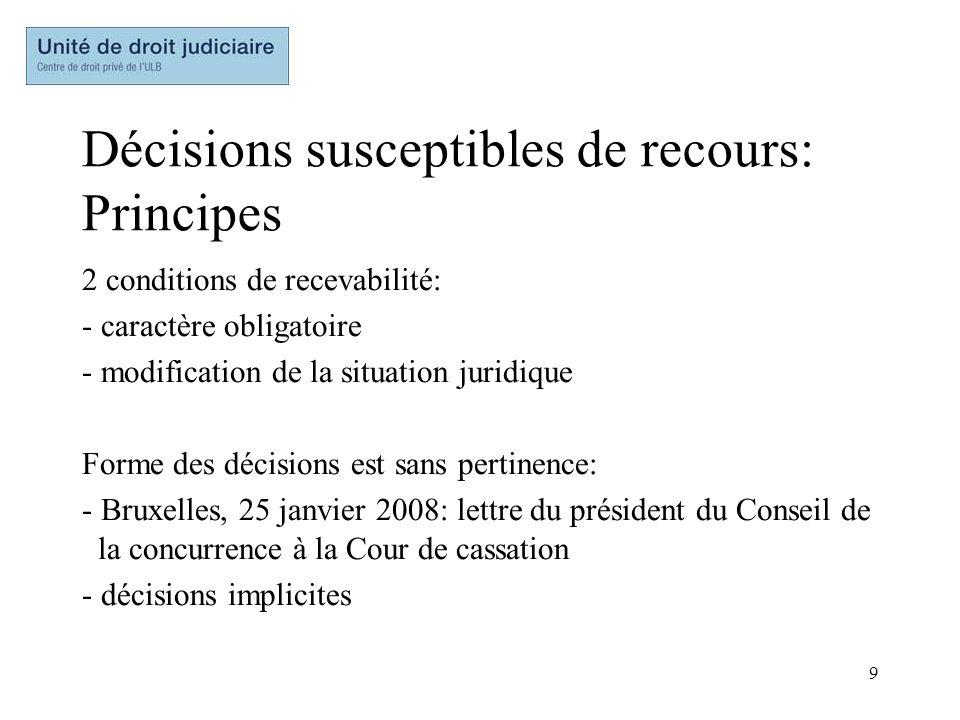 Décisions susceptibles de recours: Principes