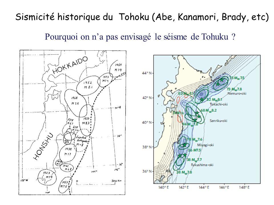 Sismicité historique du Tohoku (Abe, Kanamori, Brady, etc)