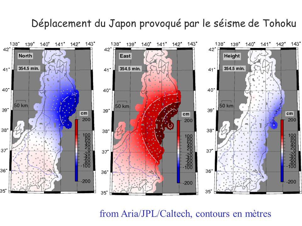 Déplacement du Japon provoqué par le séisme de Tohoku