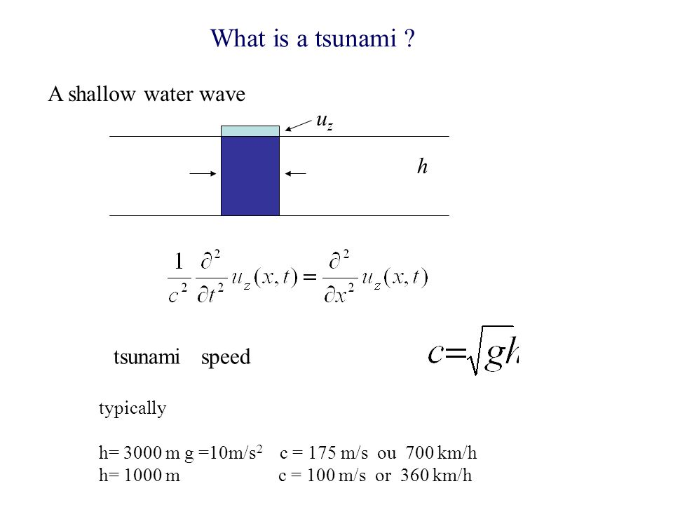 What is a tsunami A shallow water wave uz h tsunami speed typically