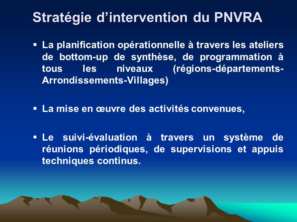 Stratégie d'intervention du PNVRA