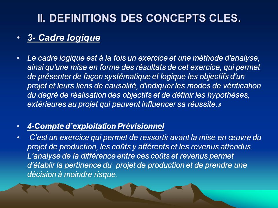 II. DEFINITIONS DES CONCEPTS CLES.