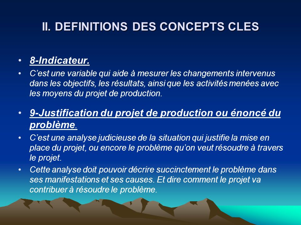 II. DEFINITIONS DES CONCEPTS CLES