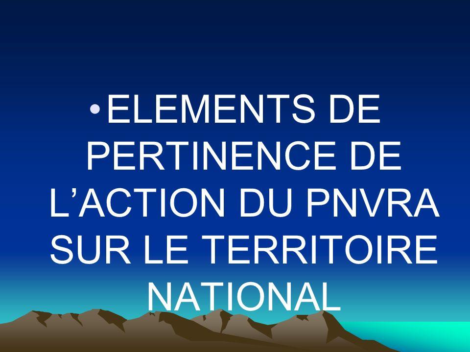 ELEMENTS DE PERTINENCE DE L'ACTION DU PNVRA SUR LE TERRITOIRE NATIONAL