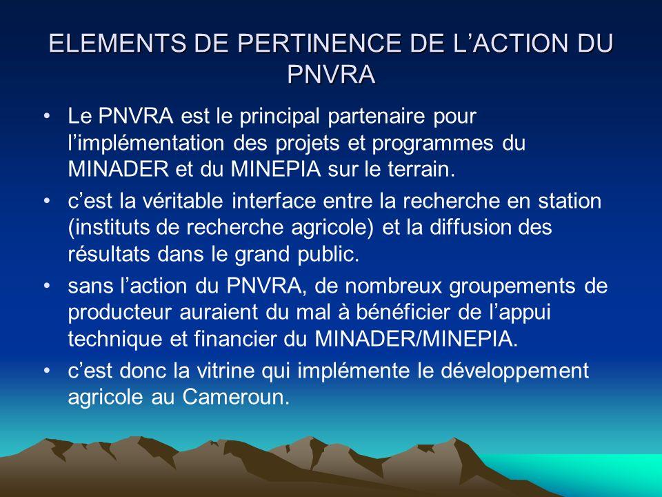 ELEMENTS DE PERTINENCE DE L'ACTION DU PNVRA