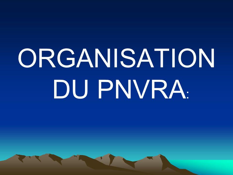 ORGANISATION DU PNVRA: