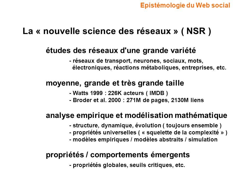 La « nouvelle science des réseaux » ( NSR )