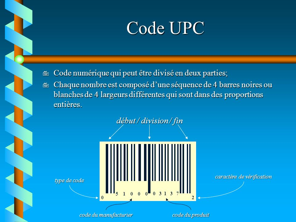 Code UPC Code numérique qui peut être divisé en deux parties;