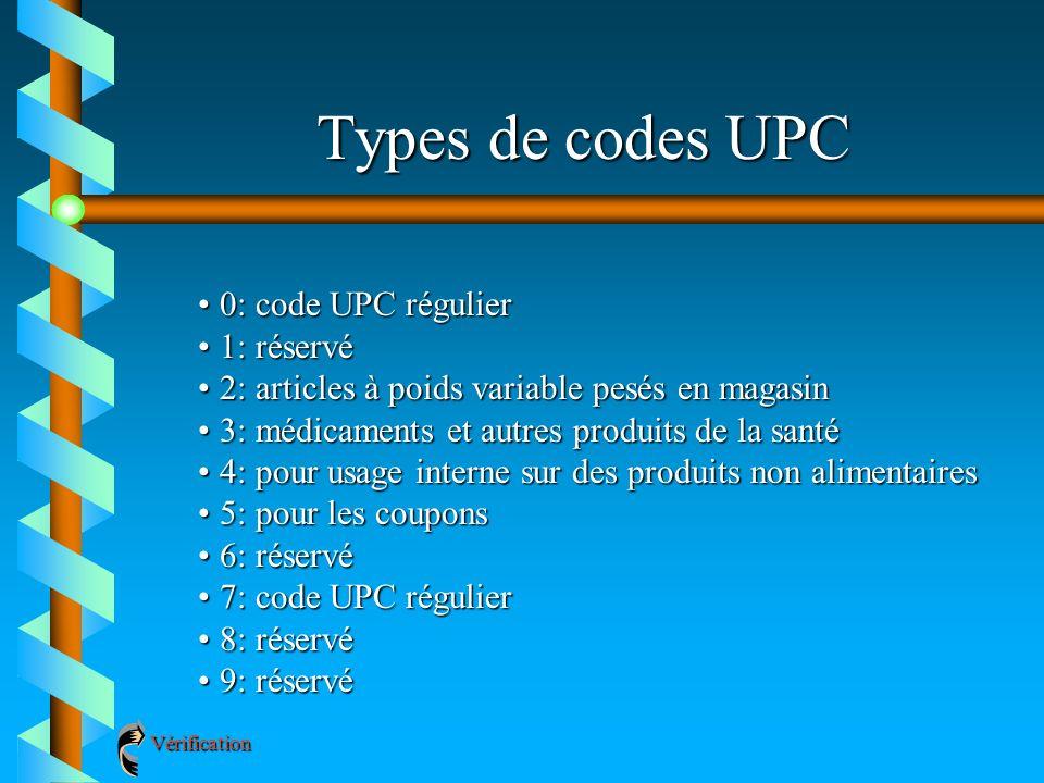 Types de codes UPC 0: code UPC régulier 1: réservé