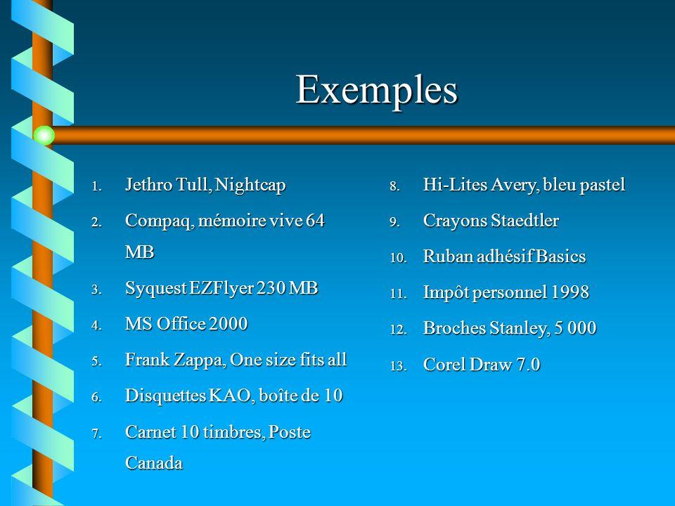 Exemples Jethro Tull, Nightcap Compaq, mémoire vive 64 MB
