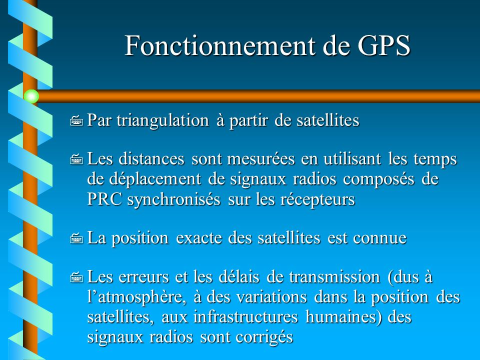 Fonctionnement de GPS Par triangulation à partir de satellites
