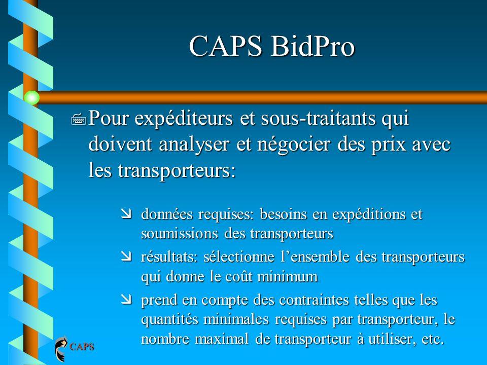 CAPS BidPro Pour expéditeurs et sous-traitants qui doivent analyser et négocier des prix avec les transporteurs: