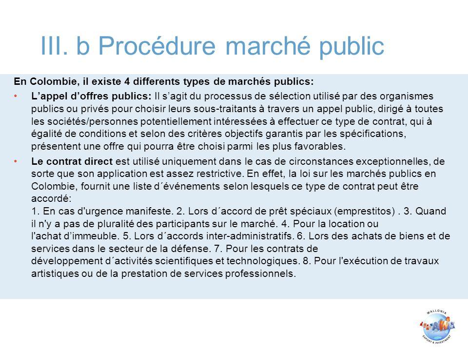 III. b Procédure marché public
