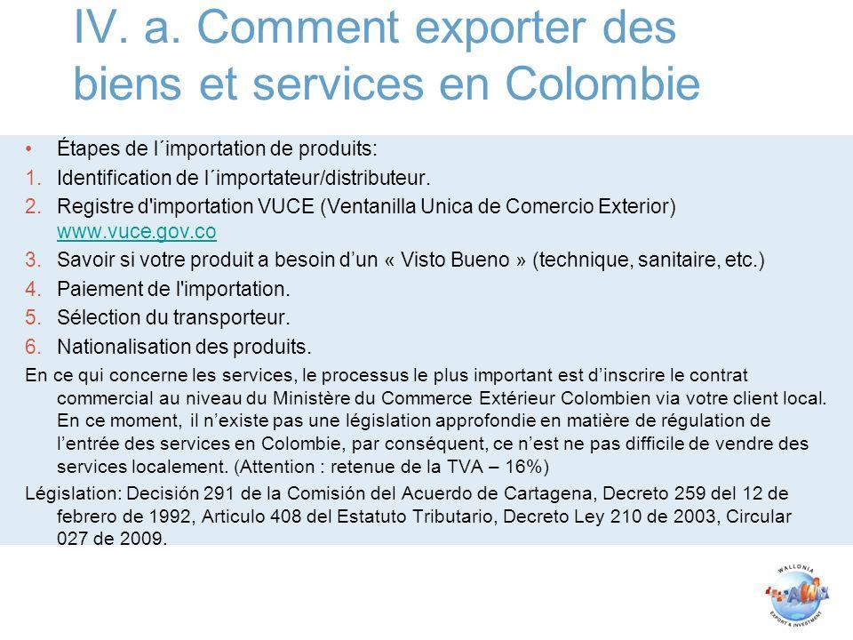 IV. a. Comment exporter des biens et services en Colombie