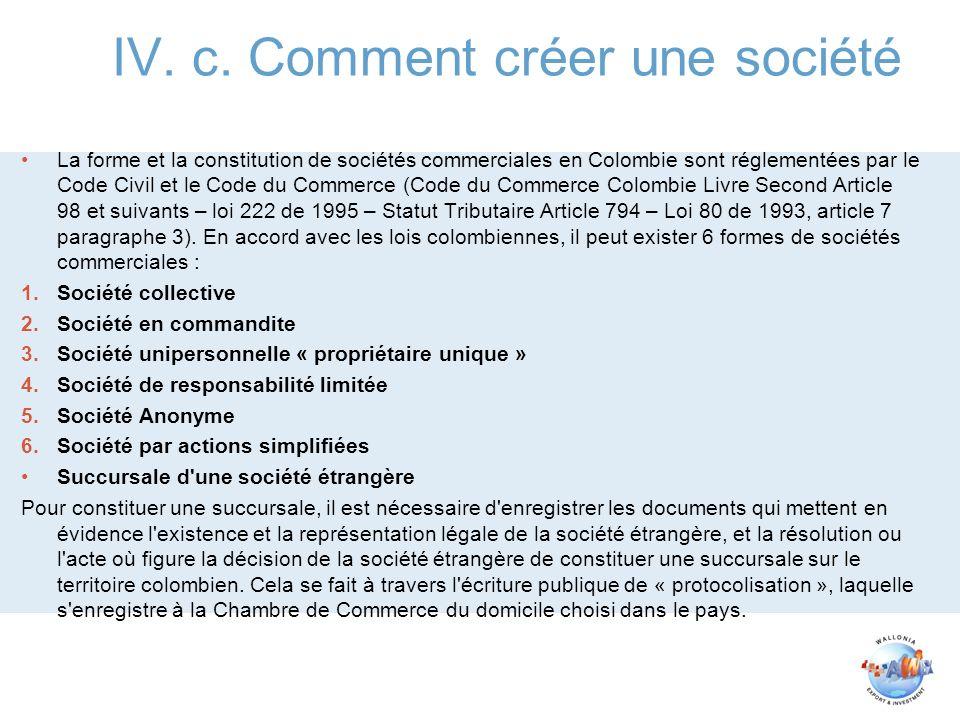 IV. c. Comment créer une société