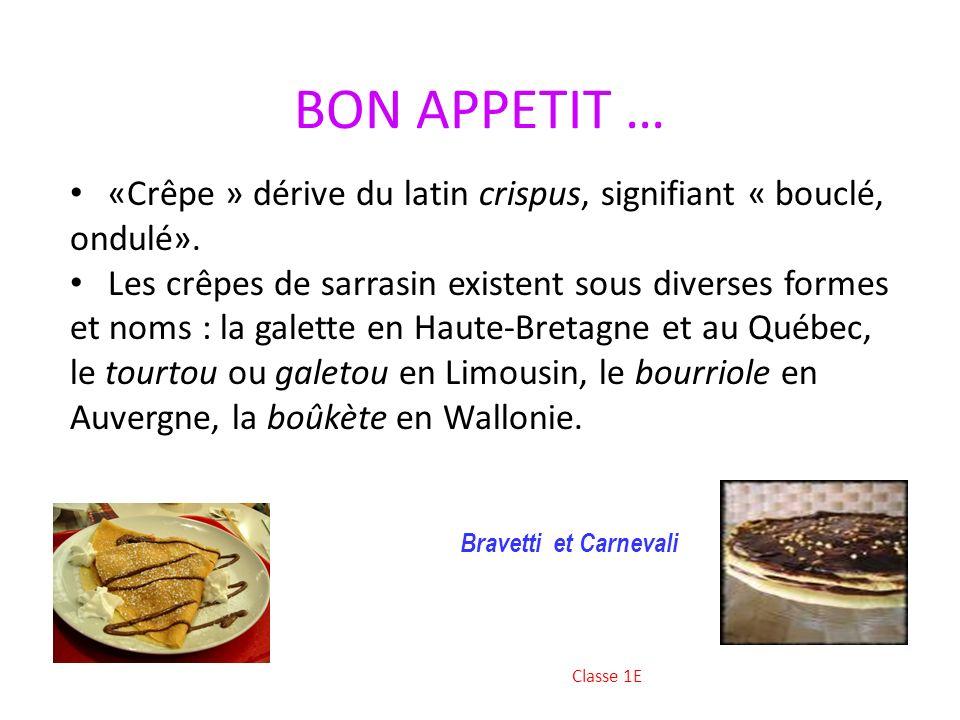 BON APPETIT … «Crêpe » dérive du latin crispus, signifiant « bouclé, ondulé».