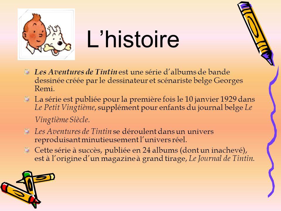 L'histoire Les Aventures de Tintin est une série d'albums de bande dessinée créée par le dessinateur et scénariste belge Georges Remi.