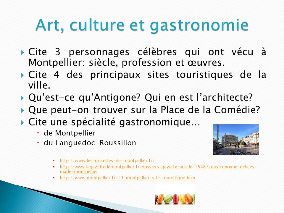 Art, culture et gastronomie