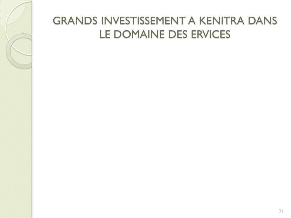 GRANDS INVESTISSEMENT A KENITRA DANS LE DOMAINE DES ERVICES