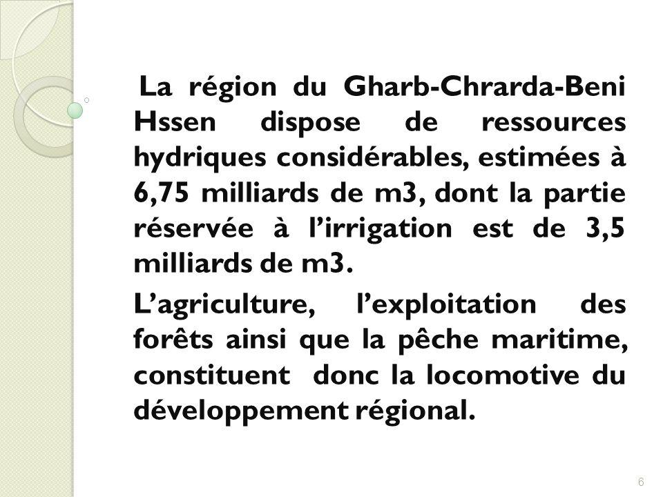 La région du Gharb-Chrarda-Beni Hssen dispose de ressources hydriques considérables, estimées à 6,75 milliards de m3, dont la partie réservée à l'irrigation est de 3,5 milliards de m3.