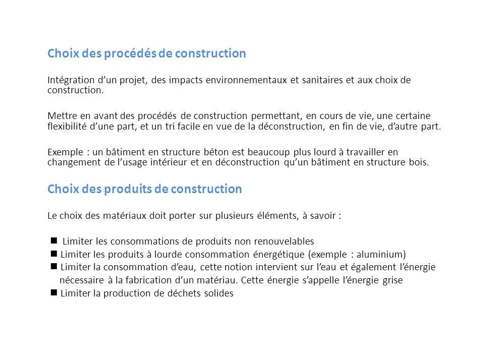 Choix des procédés de construction